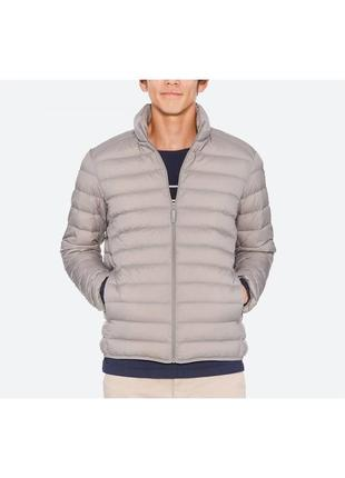 Светло-серая легкая куртка на пуху uniqlo