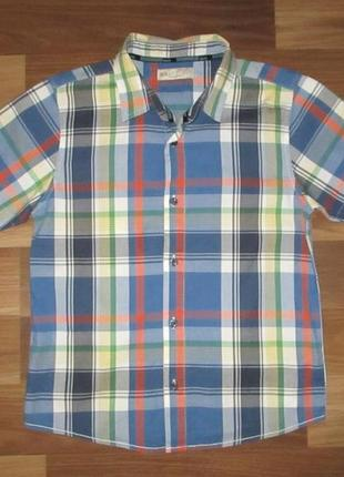 Котоновая рубашка в клетку фирмы маркспенсер на 9-10 лет