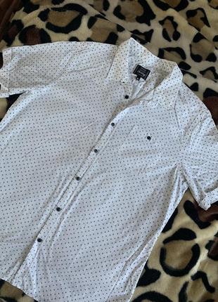 Тенниска рубашка с короткими рукавами белая узор мелкий george