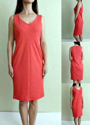Коралловое платье футляр