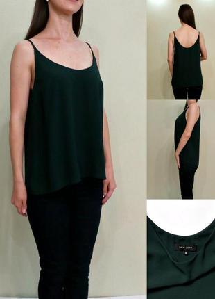 Шифоновая блуза на тонких бретелях , майка зелёная