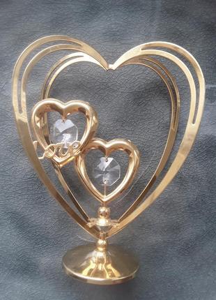 Crystocraft сердце с позолотой и кристалами swarovski, love подарок