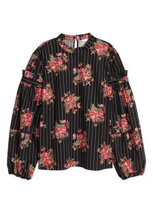 Широкая блузка от h&m,блуза с воротником-стойкой, рубашка с цветочным принтом
