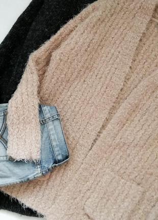 Мягенький пушистый кардиган травка  с карманами