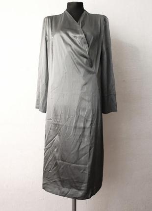 Шелковое платье серебро металлик paradis des innocents премиум бренд швейцария