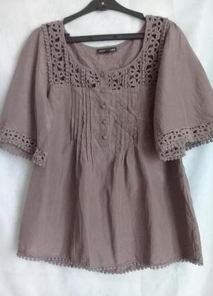 Блуза кружево шелк хлопок р. 44-46 от warehouse