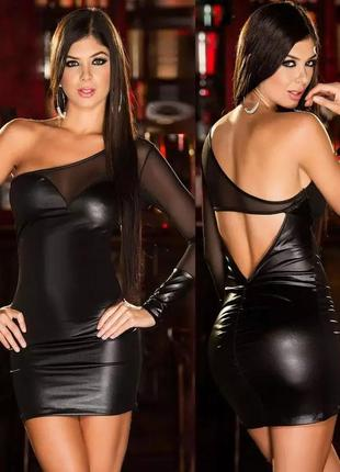 Сексуальное, облегающее, бандажное платье. кожаное платье один рукав