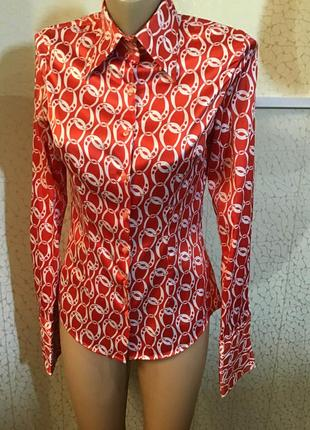Яркая оригинальная атласная рубашка блуза рукав под запонки hawes & curtis великобритания