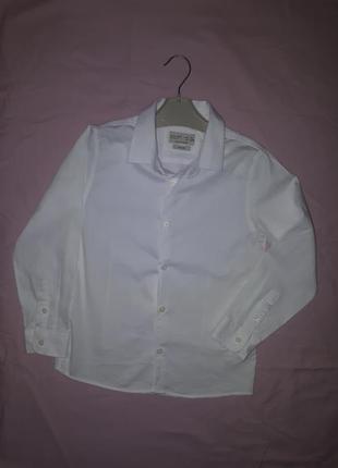 Рубашка zara белая школьная на мальчика 8 лет