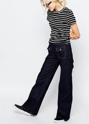 Джинсы брюки кюлоты клеш monki asos новые с биркой высокая талия посадка xxs xs