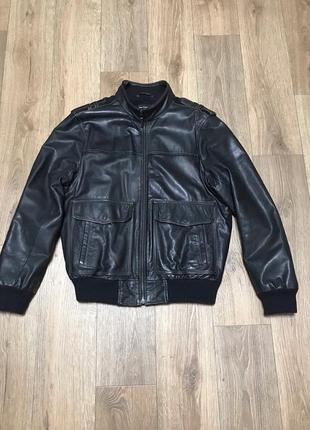 Marks & spencer autograph real leather jacket куртка кожа бомбер кожаная