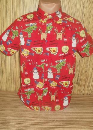 Рубашка на 7 лет с новогодним рисунком