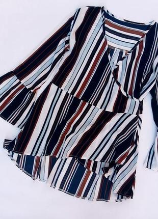 Блузка в полоску на запах