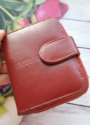 Кошелек екокожа эко гаманець жіночий женский маленький бордо1 фото
