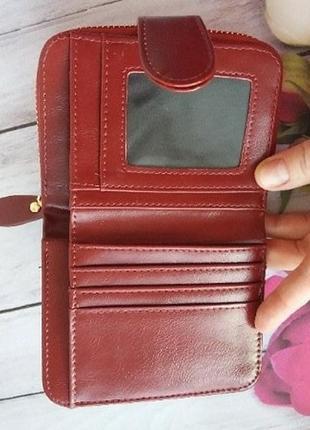 Кошелек екокожа эко гаманець жіночий женский маленький бордо2 фото