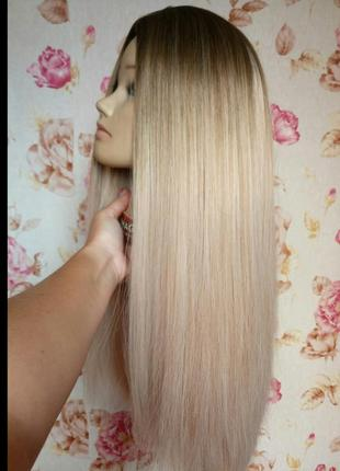 Шикарный густой парик термо волосы 80 см с имитацией кожи