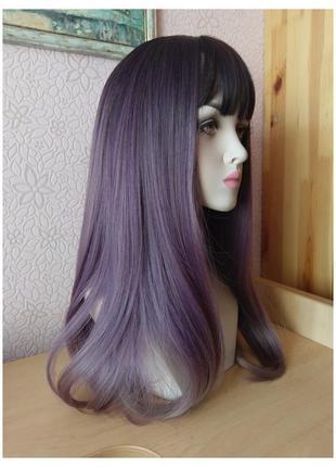 Распродажа! новый длинный прямой парик с чёлкой и пробором омбре черный/фиолетовый