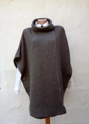Вязаное теплое стильное пончо,накидка,альпака,безрукавка,кардиган.