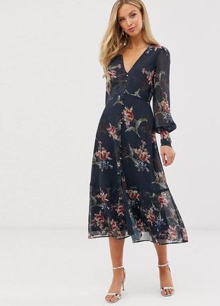 Платье hope & ivy миди с длинными рукавами и цветочным принтом c asos