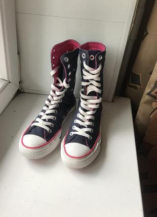Високі сині рожеві кеди converse