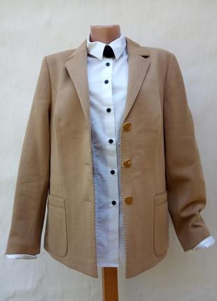 Стильный винтаж бежевый шерстяной трикотажный жакет jersey ilany,пиджак,бренд лондон.