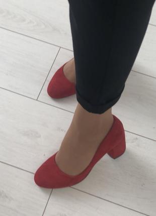 Туфли лодочки замшевые на толстом каблуке коасные