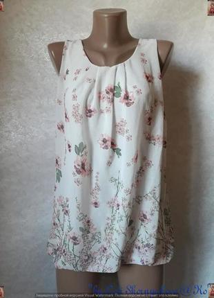 Красивая летняя блуза в цветочный прин с кружевной спинкой, размер с-л