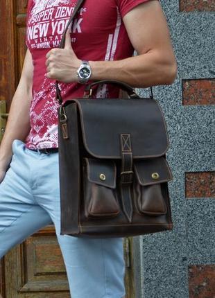 """Мужская сумка на плечо, кожаная сумка для ноутбука """"big money 22"""""""