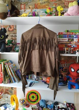Куртка косуха primark под замш с бахромой в цвете хаки4 фото