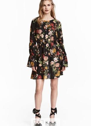 Платье из воздушной ткани с цветочным принтом, длинный рукав h&m
