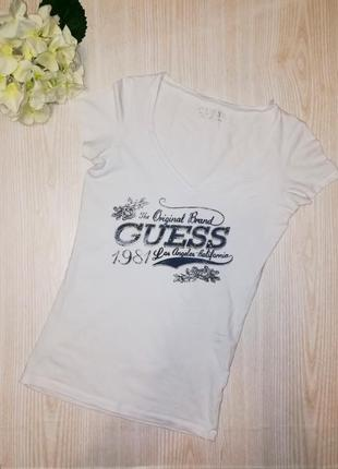 Котоновая футболка guess  с принтом xs оригинал