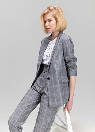 Жакет пиджак в клетку ostin6 фото