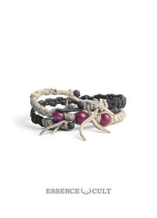 Мужской кожаный браслет с индийским рубином (корунд)