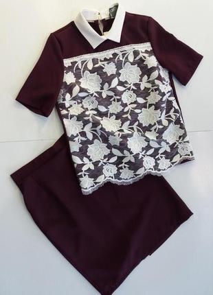 Женский нарядный костюм asos цвета марсала с юбкой карандаш