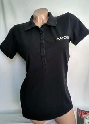 Черное поло / футболка , 96% хлопок+ 4% лайкра р. n-4 - l , от marc cain