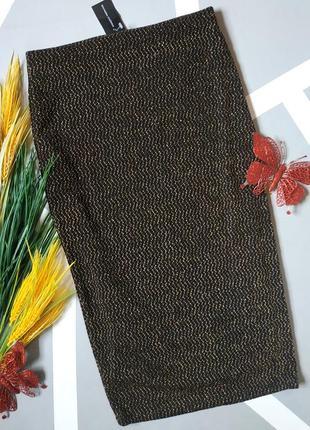 Золотистая юбка миди с высокой талией карандаш с люрексом