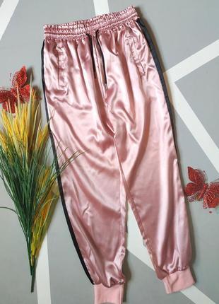Атласные спортивные штаны сатиновые брюки с лампасами высокая талия