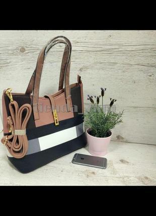 Женская повседневная сумка с плоскими длинными ручками d3370 розовая