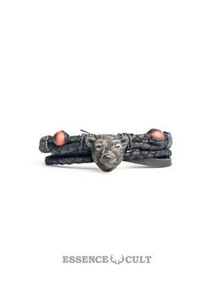 Кожаный мужской браслет из итальянской кожи, медведь