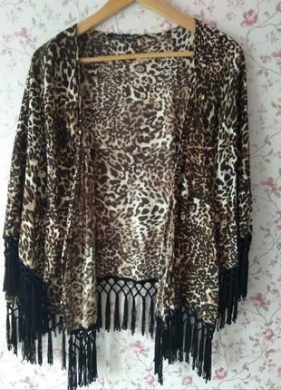 Натуральная леопардовая накидка кимоно на купальник