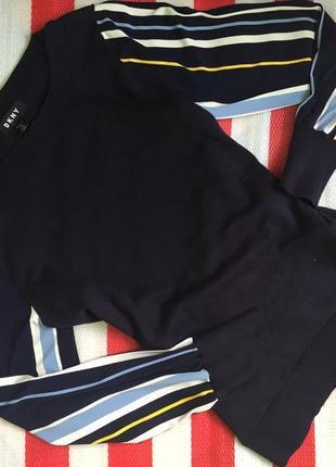 Обалденный свитшот,кофта  блуза dkny с рукавами в полоску