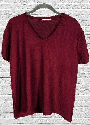 Бордовая футболка однотонная, оверсайз футболка женская