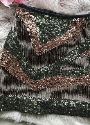 Юбка h&m 42 пайетки спідниця расшита блестками