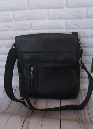Кожаная мужская сумка из натуральной кожи шкіряна на плече чорна