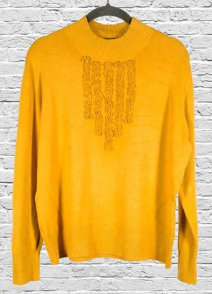 Однотонный свитер горчичный, базовый свитер женский, осенний свитер