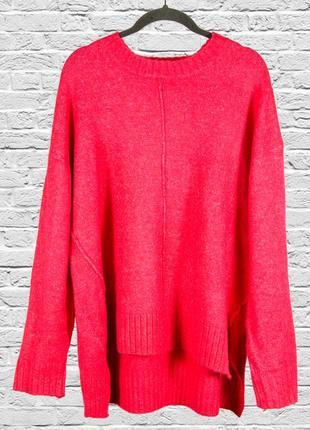 Розовый свитер большой, оверсайз свитер женский, оверсайз пуловер, свободный свитер