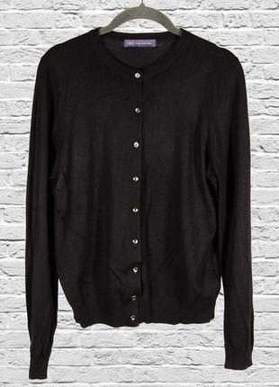 Черный кардиган вязаный, теплый кардиган кофта на пуговицах, черная кофта