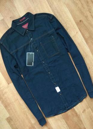 Новая с бирками мужская джинсовая рубашка, тёмно синего цвета, м размер