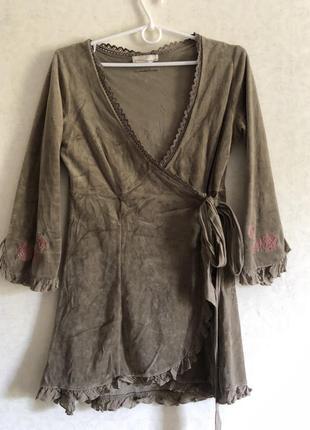‼️до 24.08 -20% на все‼️ домашня велюрова сукня на запах / домашнее платье с вышивкой