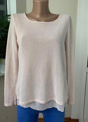 Тонкий свитер с шифоновой подкладкой
